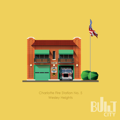 Original Illustration of Charlotte Fire Station No. 5