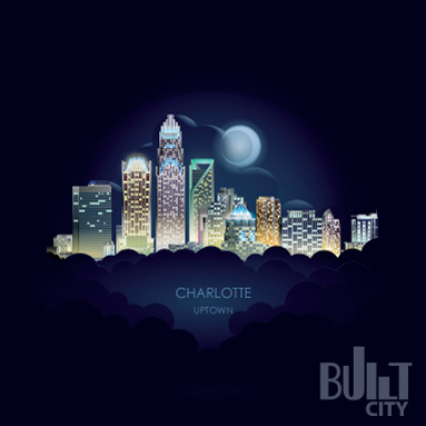 Original Illustration of Charlotte Skyline Nighttime