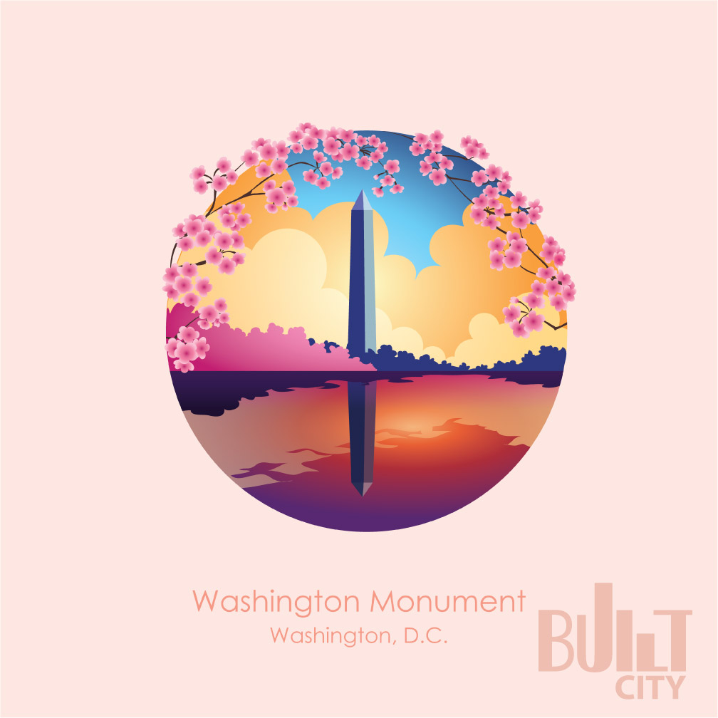 Original Illustration of Washington Monument in Washington DC